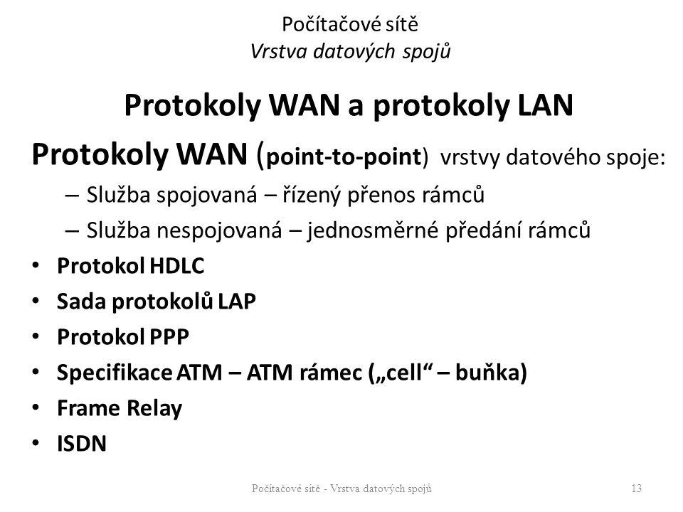 Protokoly WAN a protokoly LAN Protokoly WAN ( point-to-point ) vrstvy datového spoje: – Služba spojovaná – řízený přenos rámců – Služba nespojovaná –