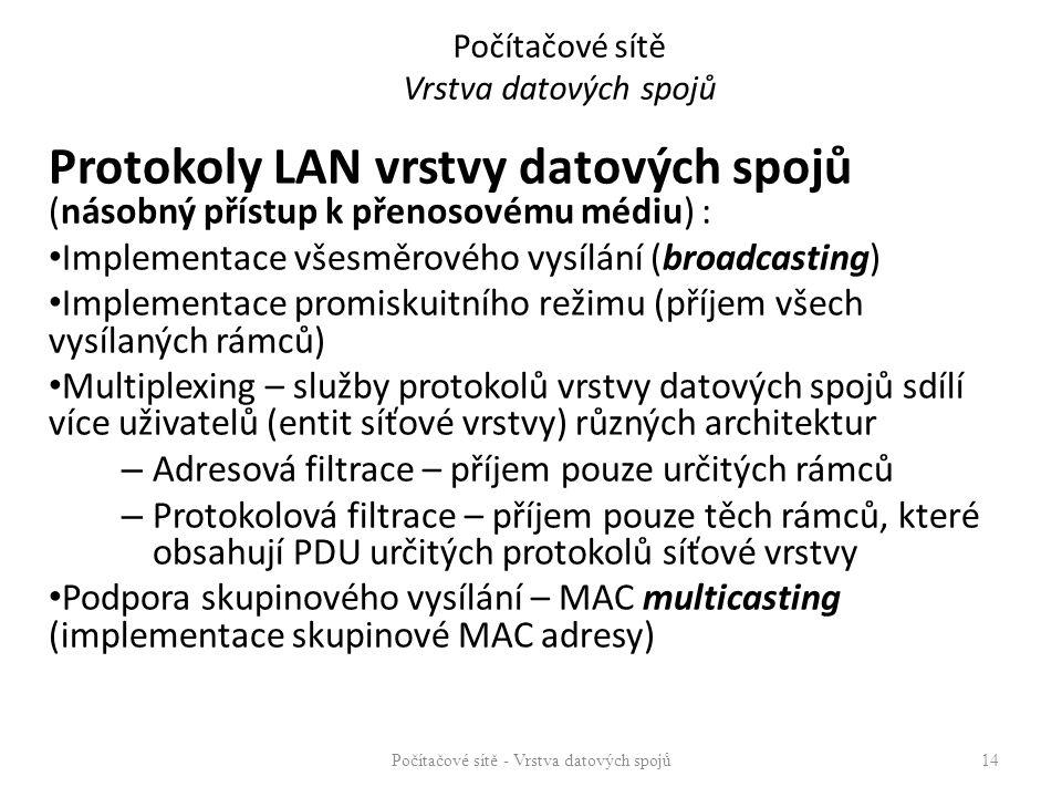Počítačové sítě Vrstva datových spojů Protokoly LAN vrstvy datových spojů (násobný přístup k přenosovému médiu) : Implementace všesměrového vysílání (