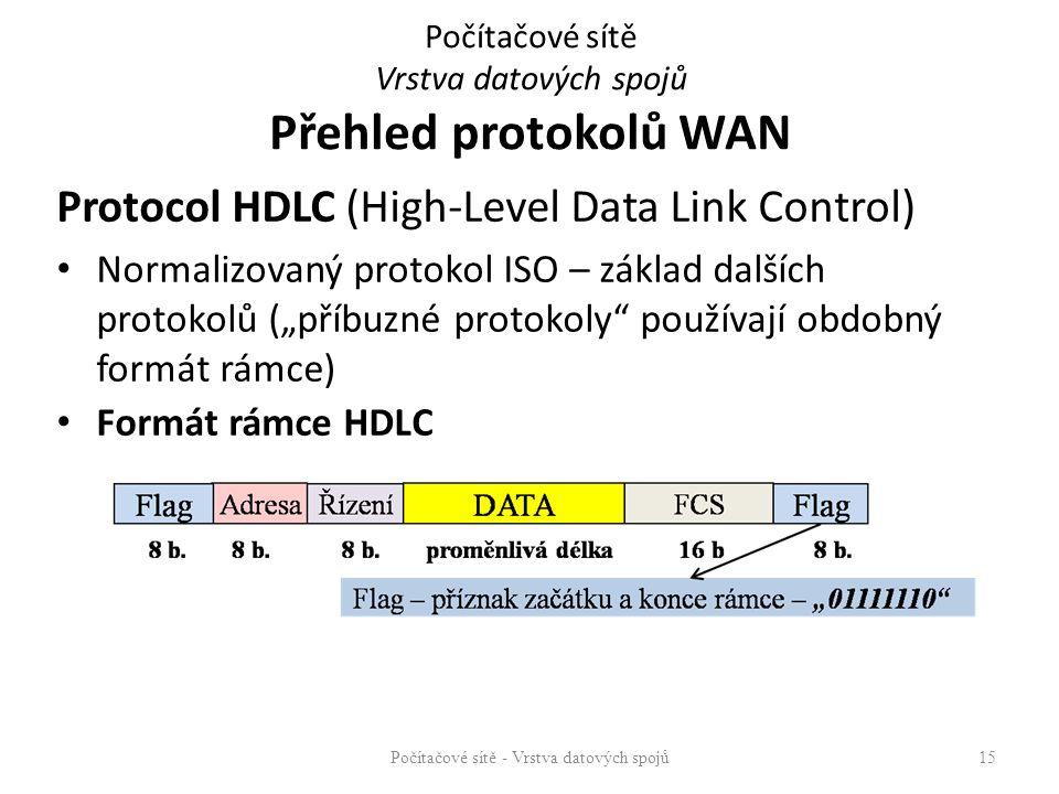 """Protocol HDLC (High-Level Data Link Control) Normalizovaný protokol ISO – základ dalších protokolů (""""příbuzné protokoly"""" používají obdobný formát rámc"""