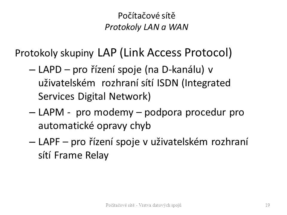 Počítačové sítě Protokoly LAN a WAN Protokoly skupiny LAP (Link Access Protocol) – LAPD – pro řízení spoje (na D-kanálu) v uživatelském rozhraní sítí