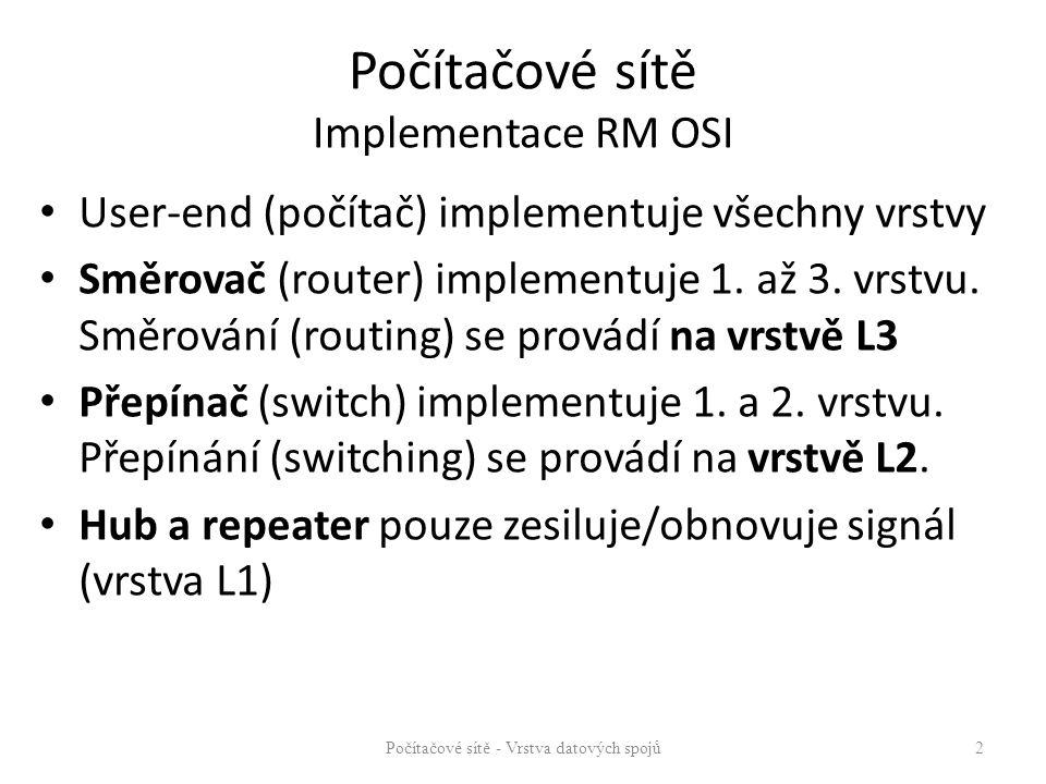 Počítačové sítě Implementace RM OSI User-end (počítač) implementuje všechny vrstvy Směrovač (router) implementuje 1. až 3. vrstvu. Směrování (routing)