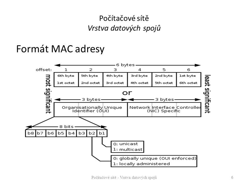 Formát MAC adresy Počítačové sítě - Vrstva datových spojů 6 Počítačové sítě Vrstva datových spojů