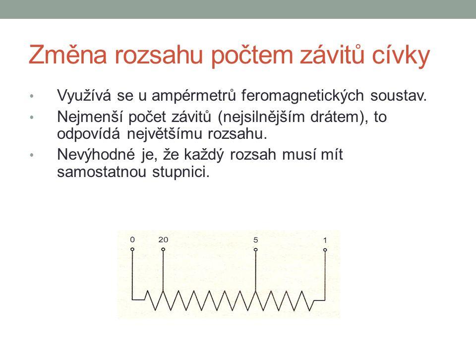 Změna rozsahu počtem závitů cívky Využívá se u ampérmetrů feromagnetických soustav. Nejmenší počet závitů (nejsilnějším drátem), to odpovídá největším