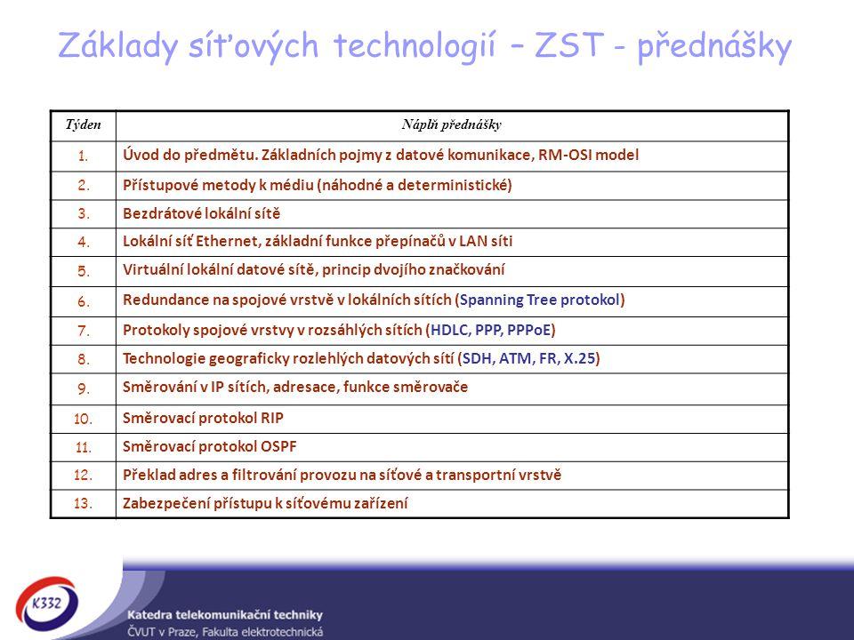 TýdenNáplň přednášky 1.Úvod do předmětu. Základních pojmy z datové komunikace, RM-OSI model 2.