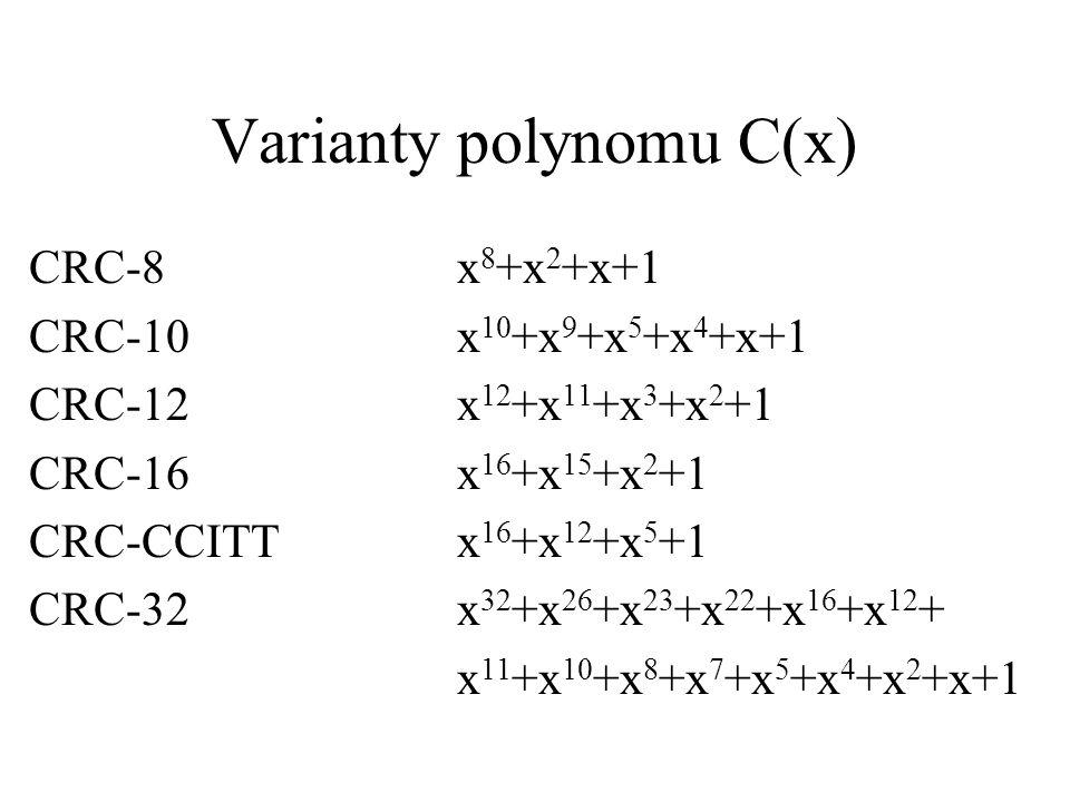 Varianty polynomu C(x) CRC-8x 8 +x 2 +x+1 CRC-10x 10 +x 9 +x 5 +x 4 +x+1 CRC-12x 12 +x 11 +x 3 +x 2 +1 CRC-16x 16 +x 15 +x 2 +1 CRC-CCITTx 16 +x 12 +x