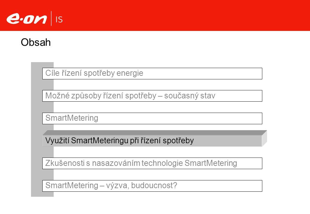 Obsah Cíle řízení spotřeby energie Možné způsoby řízení spotřeby – současný stav SmartMetering Využití SmartMeteringu při řízení spotřeby Zkušenosti s