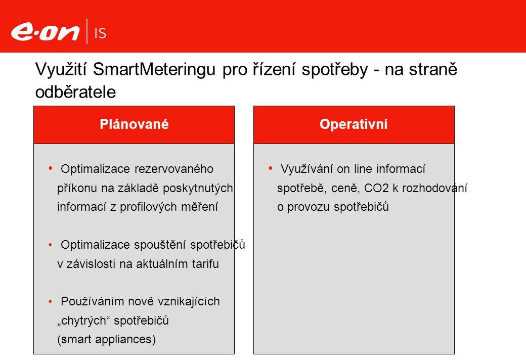 Využití SmartMeteringu pro řízení spotřeby - na straně odběratele Operativní Plánované Optimalizace rezervovaného příkonu na základě poskytnutých info