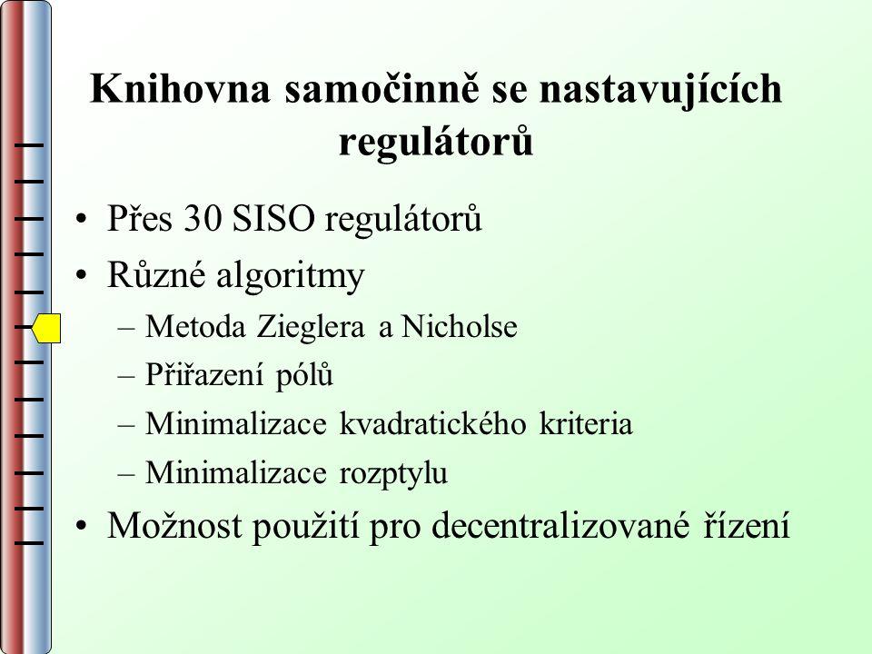 Knihovna samočinně se nastavujících regulátorů Přes 30 SISO regulátorů Různé algoritmy –Metoda Zieglera a Nicholse –Přiřazení pólů –Minimalizace kvadratického kriteria –Minimalizace rozptylu Možnost použití pro decentralizované řízení