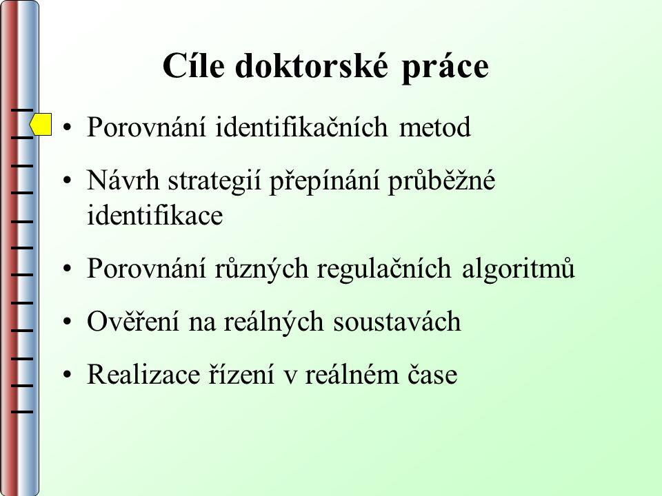 Cíle doktorské práce Porovnání identifikačních metod Návrh strategií přepínání průběžné identifikace Porovnání různých regulačních algoritmů Ověření na reálných soustavách Realizace řízení v reálném čase