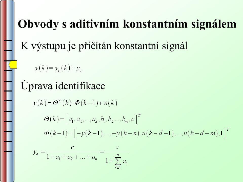 Obvody s aditivním konstantním signálem K výstupu je přičítán konstantní signál Úprava identifikace