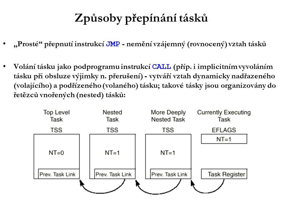 """Způsoby přepínání tásků """"Prosté přepnutí instrukcí JMP - nemění vzájemný (rovnocený) vztah tásků Volání tásku jako podprogramu instrukcí CALL (příp."""