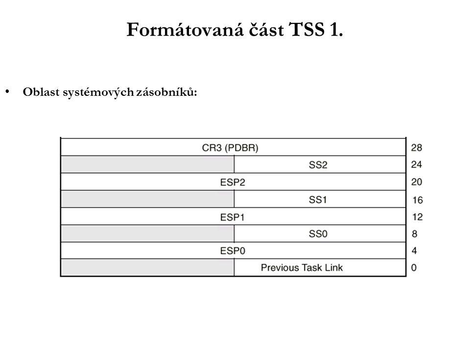 Formátovaná část TSS 1. Oblast systémových zásobníků: