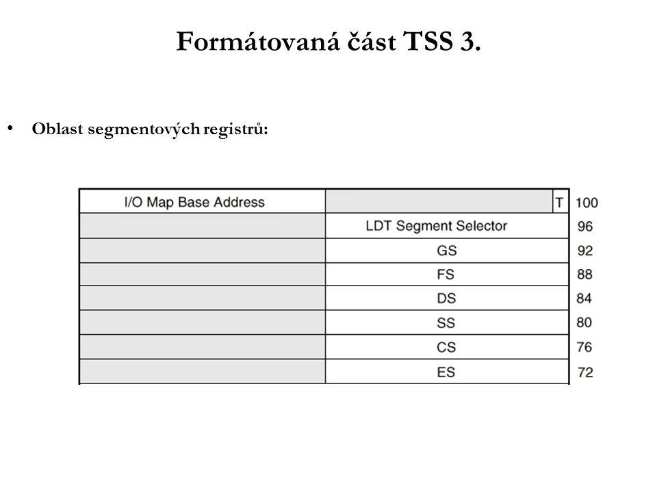 Formátovaná část TSS 3. Oblast segmentových registrů: