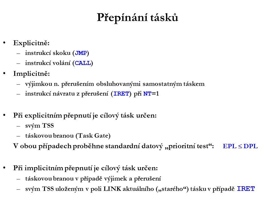 Přepínání tásků Explicitně: –instrukcí skoku ( JMP ) –instrukcí volání ( CALL ) Implicitně: –výjimkou n.