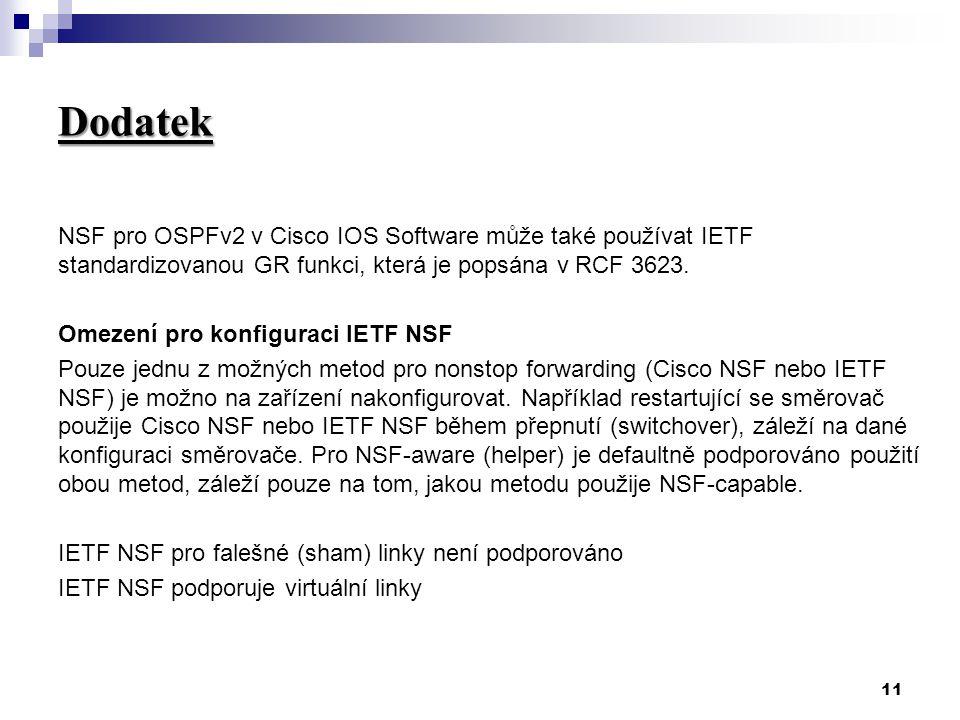 11 Dodatek NSF pro OSPFv2 v Cisco IOS Software může také používat IETF standardizovanou GR funkci, která je popsána v RCF 3623.