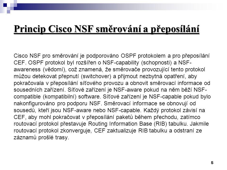 5 Princip Cisco NSF směrování a přeposílání Cisco NSF pro směrování je podporováno OSPF protokolem a pro přeposílání CEF.