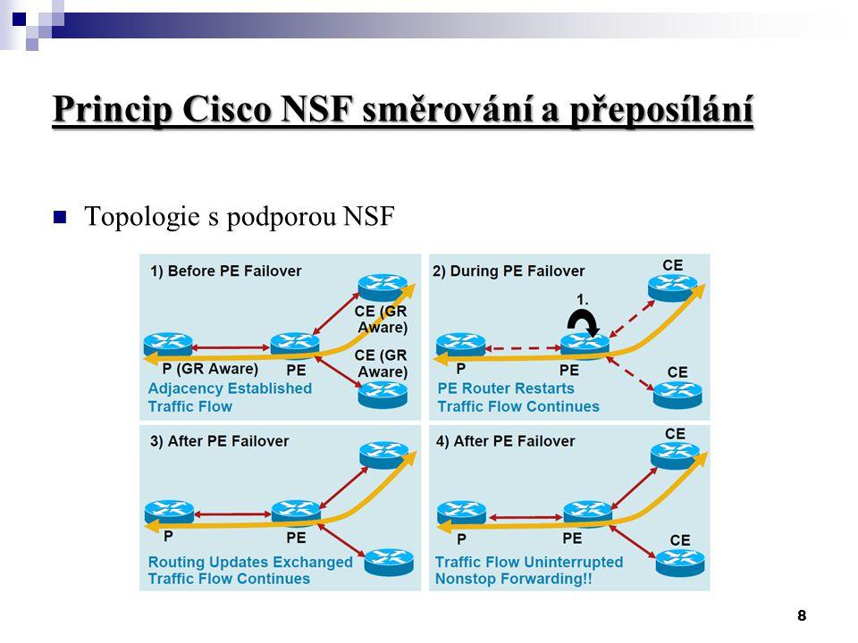 8 Princip Cisco NSF směrování a přeposílání Topologie s podporou NSF