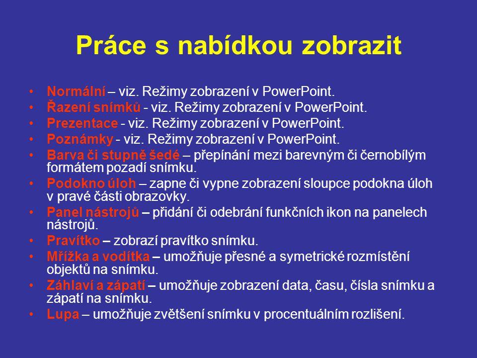 Práce s nabídkou zobrazit Normální – viz. Režimy zobrazení v PowerPoint. Řazení snímků - viz. Režimy zobrazení v PowerPoint. Prezentace - viz. Režimy