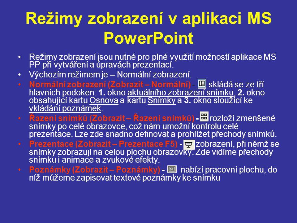 Režimy zobrazení v aplikaci MS PowerPoint Režimy zobrazení jsou nutné pro plné využití možností aplikace MS PP při vytváření a úpravách prezentací. Vý