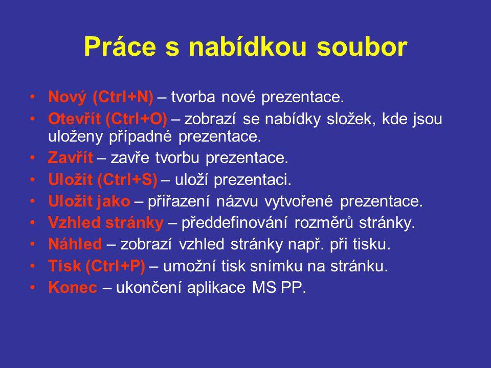 Práce s nabídkou soubor Nový (Ctrl+N) – tvorba nové prezentace. Otevřít (Ctrl+O) – zobrazí se nabídky složek, kde jsou uloženy případné prezentace. Za