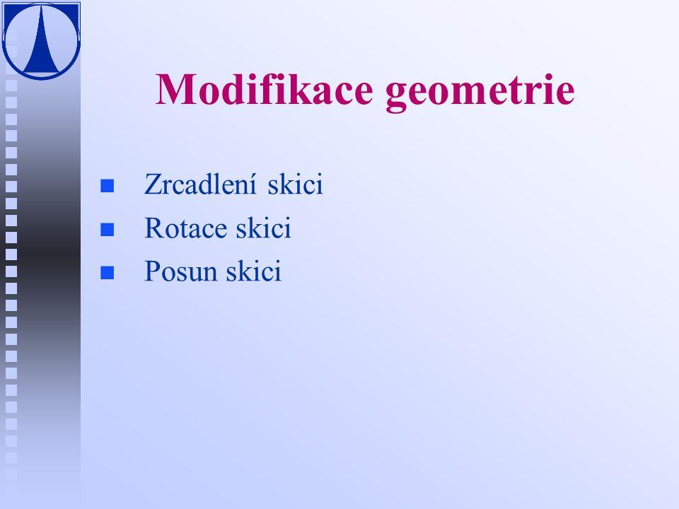 Modifikace geometrie n n Zrcadlení skici n n Rotace skici n n Posun skici