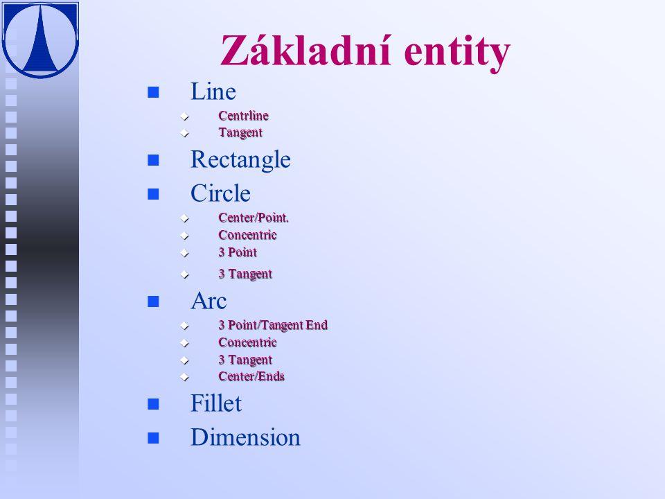 Základní entity n n Line u Centrline u Tangent n n Rectangle n n Circle u Center/Point.