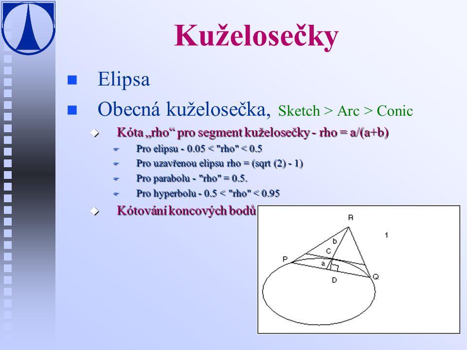 """Kuželosečky n n Elipsa n n Obecná kuželosečka, Sketch > Arc > Conic u Kóta """"rho pro segment kuželosečky - rho = a/(a+b) F Pro elipsu - 0.05 < rho < 0.5 F Pro uzavřenou elipsu rho = (sqrt (2) - 1) F Pro parabolu - rho = 0.5."""