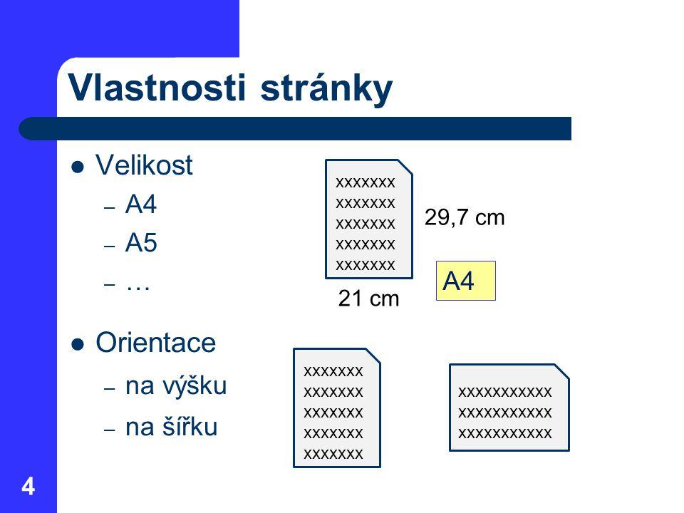 Vlastnosti stránky Velikost – A4 – A5 –…–… Orientace – na výšku – na šířku 4 xxxxxxx A4 21 cm 29,7 cm xxxxxxx xxxxxxxxxxx