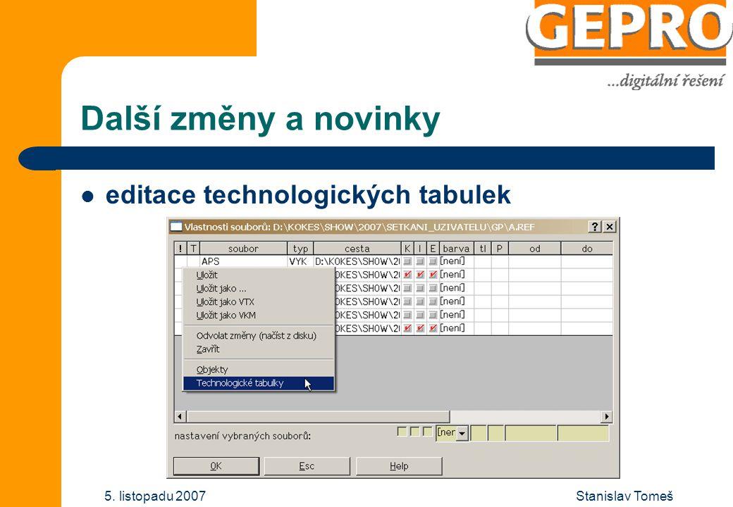 Stanislav Tomeš5. listopadu 2007 Další změny a novinky editace technologických tabulek