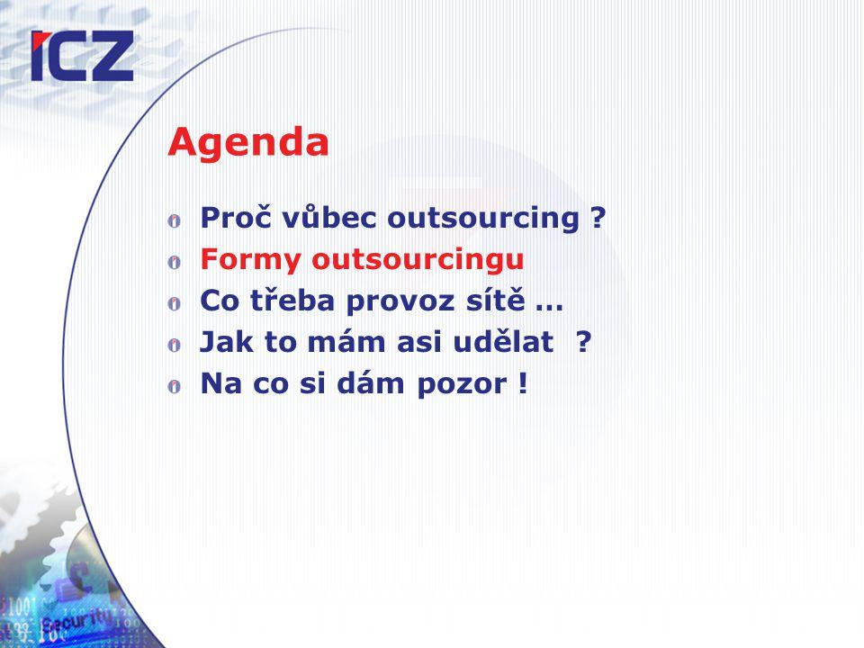 Agenda Proč vůbec outsourcing . Formy outsourcingu Co třeba provoz sítě … Jak to mám asi udělat .