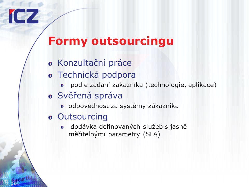 Formy outsourcingu Konzultační práce Technická podpora podle zadání zákazníka (technologie, aplikace) Svěřená správa odpovědnost za systémy zákazníka Outsourcing dodávka definovaných služeb s jasně měřitelnými parametry (SLA)