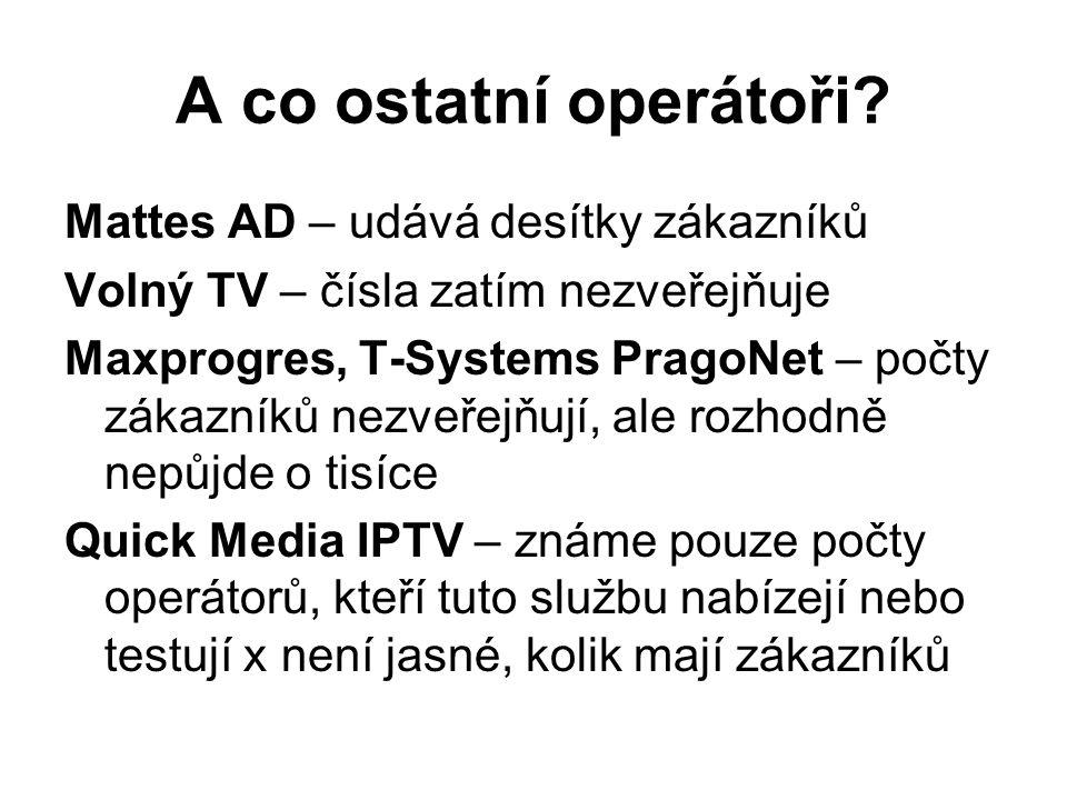 A co ostatní operátoři? Mattes AD – udává desítky zákazníků Volný TV – čísla zatím nezveřejňuje Maxprogres, T-Systems PragoNet – počty zákazníků nezve