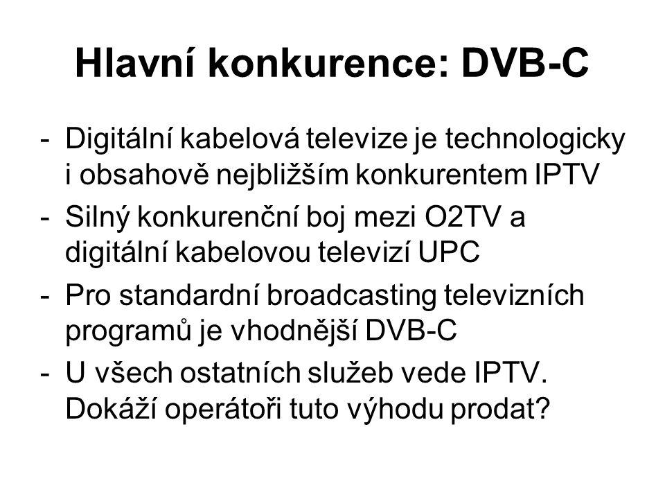 Hlavní konkurence: DVB-C -Digitální kabelová televize je technologicky i obsahově nejbližším konkurentem IPTV -Silný konkurenční boj mezi O2TV a digitální kabelovou televizí UPC -Pro standardní broadcasting televizních programů je vhodnější DVB-C -U všech ostatních služeb vede IPTV.