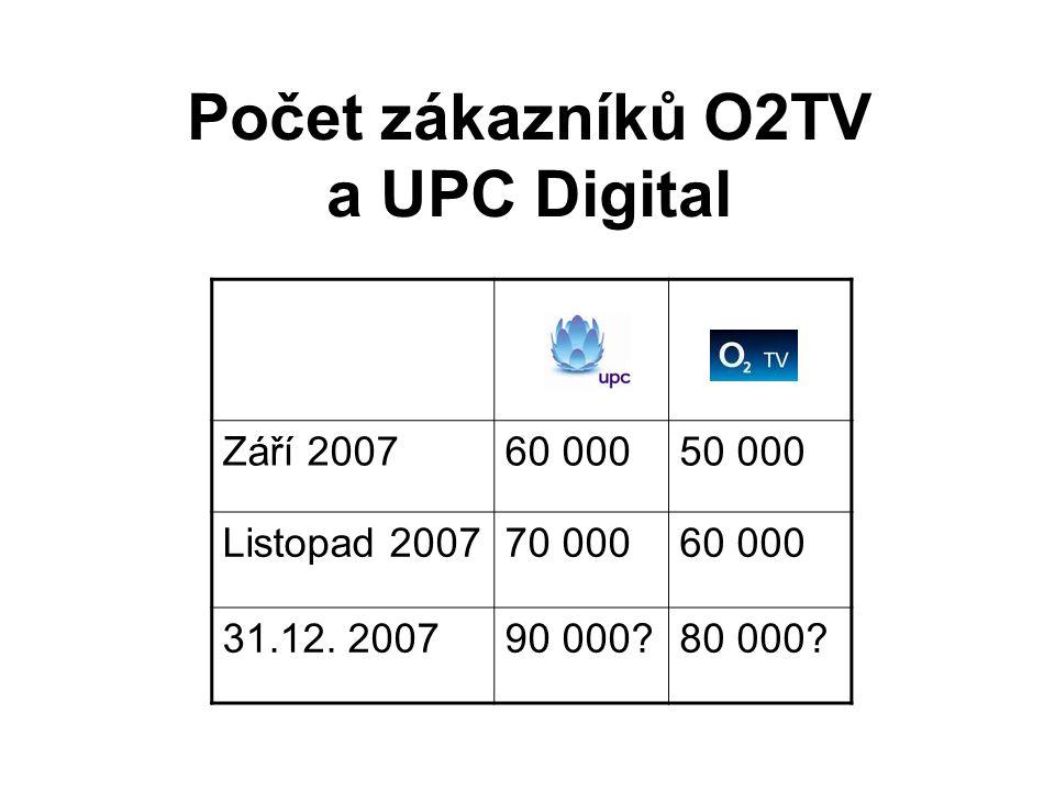 Počet zákazníků O2TV a UPC Digital Září 200760 00050 000 Listopad 200770 00060 000 31.12. 200790 000?80 000?