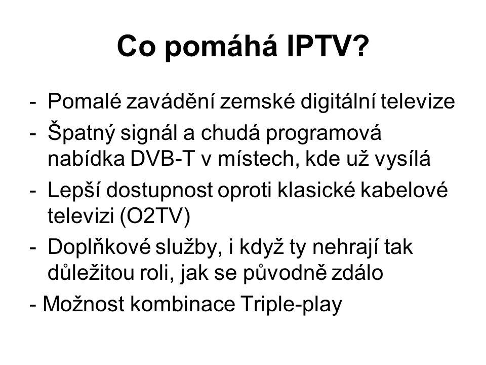 Co pomáhá IPTV? -Pomalé zavádění zemské digitální televize -Špatný signál a chudá programová nabídka DVB-T v místech, kde už vysílá -Lepší dostupnost