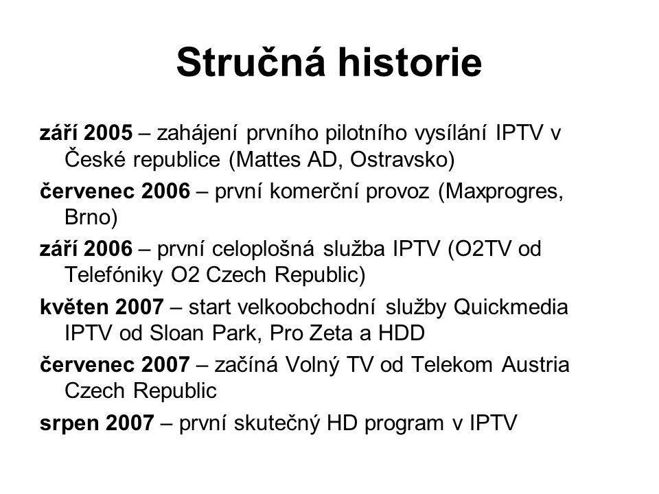 Stručná historie září 2005 – zahájení prvního pilotního vysílání IPTV v České republice (Mattes AD, Ostravsko) červenec 2006 – první komerční provoz (Maxprogres, Brno) září 2006 – první celoplošná služba IPTV (O2TV od Telefóniky O2 Czech Republic) květen 2007 – start velkoobchodní služby Quickmedia IPTV od Sloan Park, Pro Zeta a HDD červenec 2007 – začíná Volný TV od Telekom Austria Czech Republic srpen 2007 – první skutečný HD program v IPTV