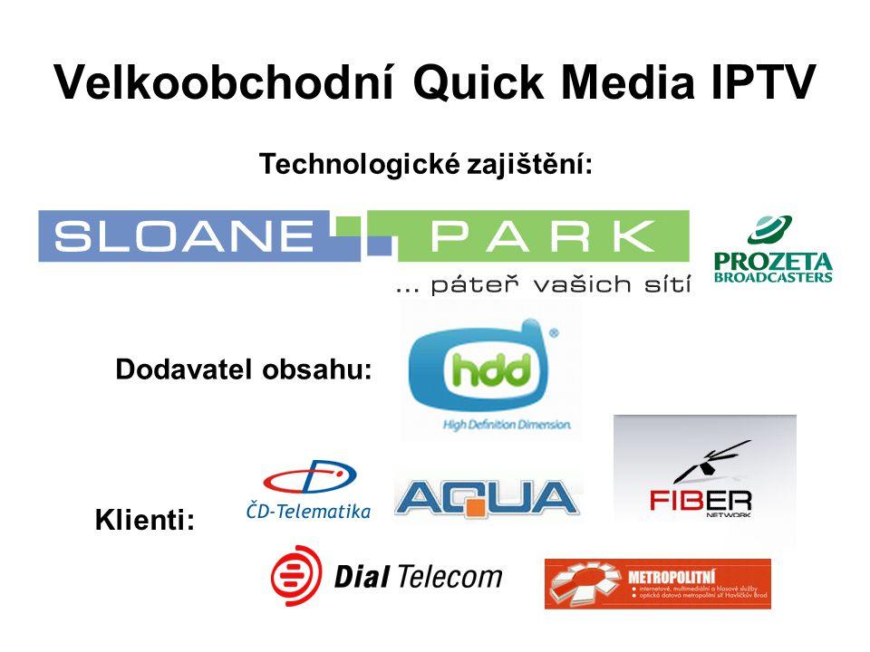Velkoobchodní Quick Media IPTV Technologické zajištění: Dodavatel obsahu: Klienti: