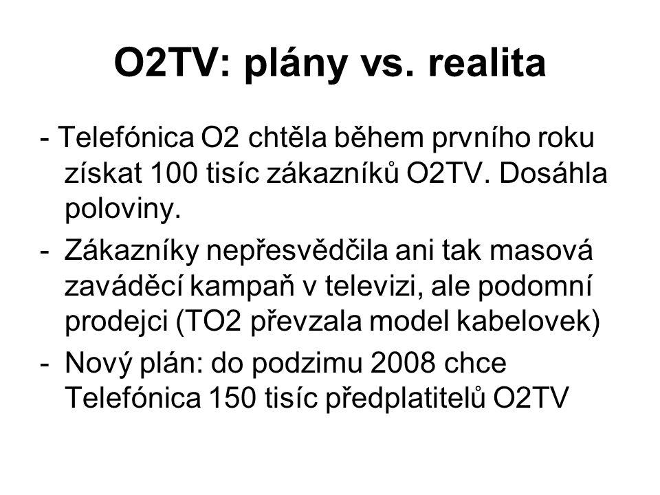 O2TV: plány vs. realita - Telefónica O2 chtěla během prvního roku získat 100 tisíc zákazníků O2TV. Dosáhla poloviny. -Zákazníky nepřesvědčila ani tak