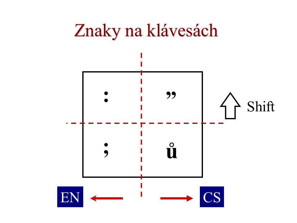 Znaky na klávesách : ů ; Shift ENCS
