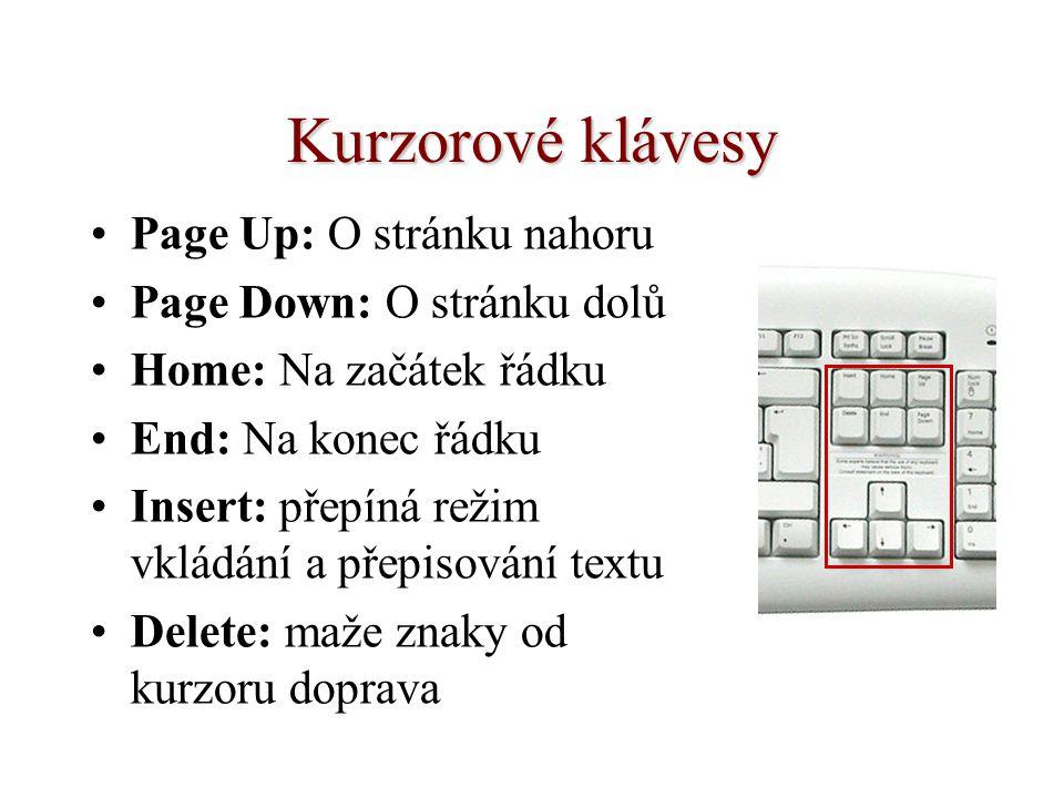 Kurzorové klávesy Page Up: O stránku nahoru Page Down: O stránku dolů Home: Na začátek řádku End: Na konec řádku Insert: přepíná režim vkládání a přepisování textu Delete: maže znaky od kurzoru doprava