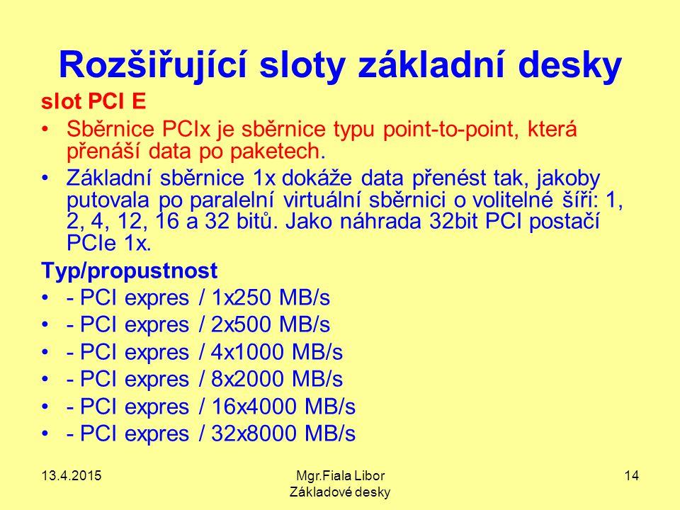 13.4.2015Mgr.Fiala Libor Základové desky 14 Rozšiřující sloty základní desky slot PCI E Sběrnice PCIx je sběrnice typu point-to-point, která přenáší d