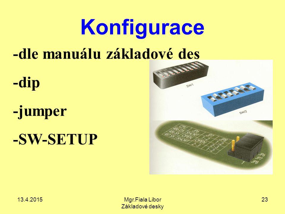 13.4.2015Mgr.Fiala Libor Základové desky 23 Konfigurace -dle manuálu základové des -dip -jumper -SW-SETUP