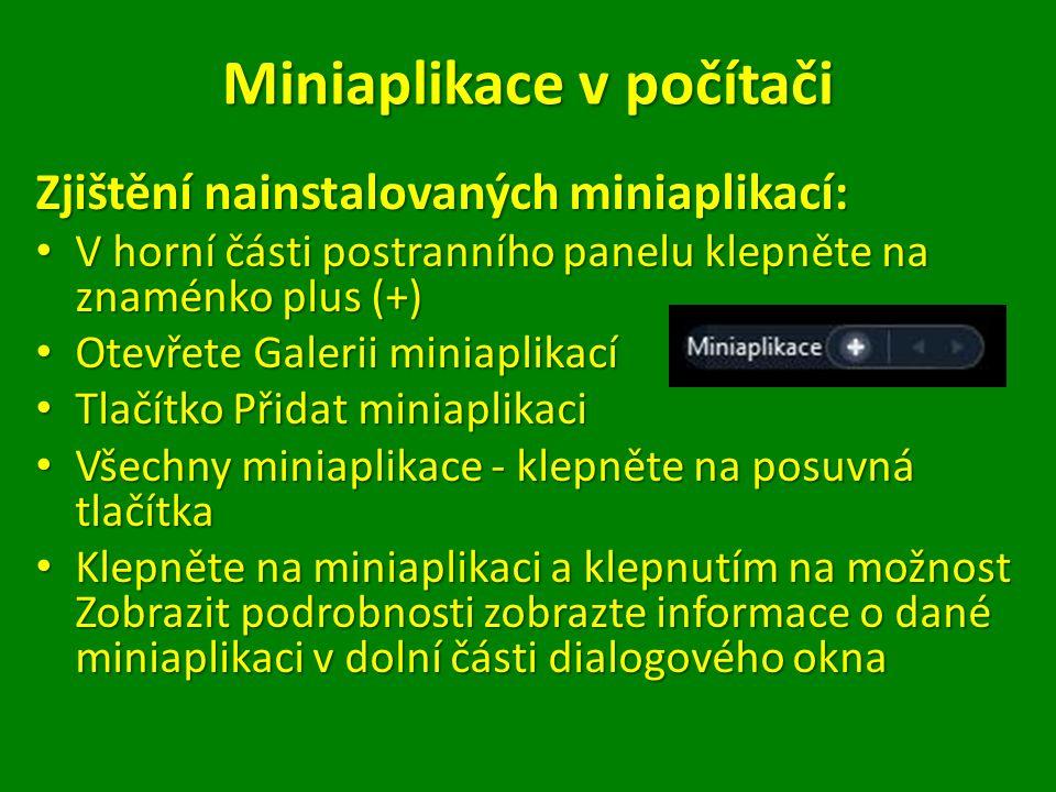 Galerieminiaplikací Galerie miniaplikací Postranní panel – podrobnější informace