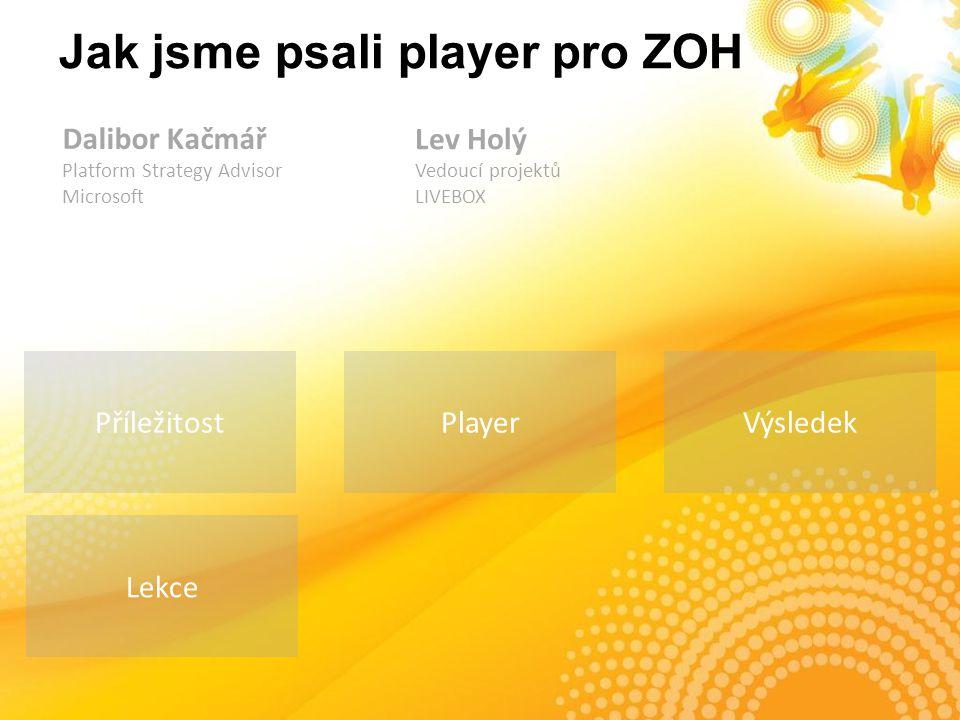 Příležitost Jak jsme psali player pro ZOH Výsledek Lekce Player Dalibor Kačmář Platform Strategy Advisor Microsoft Lev Holý Vedoucí projektů LIVEBOX