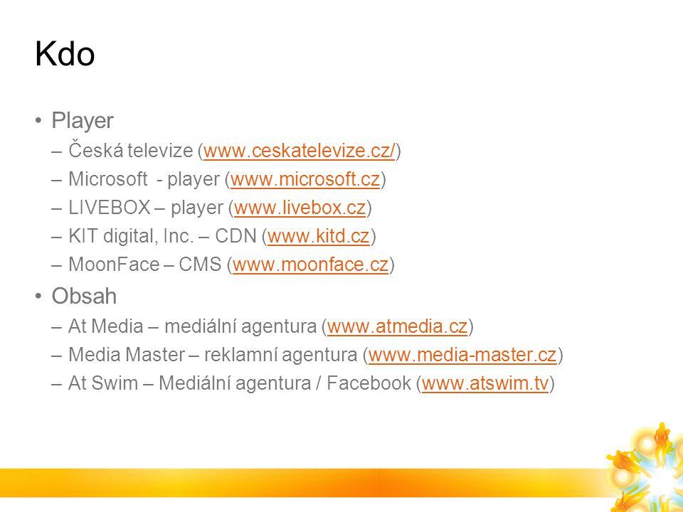 Kdo Player –Česká televize (www.ceskatelevize.cz/)www.ceskatelevize.cz/ –Microsoft - player (www.microsoft.cz)www.microsoft.cz –LIVEBOX – player (www.livebox.cz)www.livebox.cz –KIT digital, Inc.
