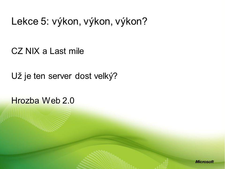 Lekce 5: výkon, výkon, výkon? CZ NIX a Last mile Už je ten server dost velký? Hrozba Web 2.0