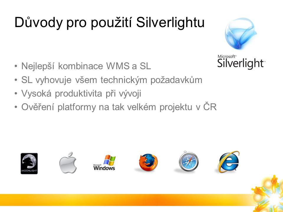 Důvody pro použití Silverlightu Nejlepší kombinace WMS a SL SL vyhovuje všem technickým požadavkům Vysoká produktivita při vývoji Ověření platformy na tak velkém projektu v ČR