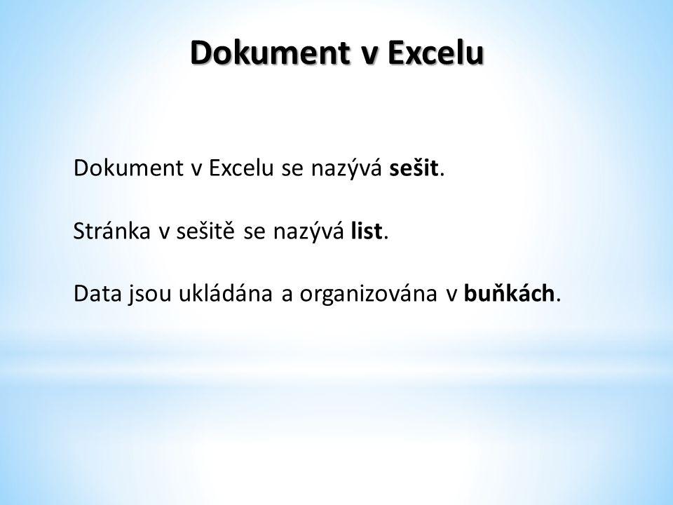 Dokument v Excelu Dokument v Excelu se nazývá sešit.