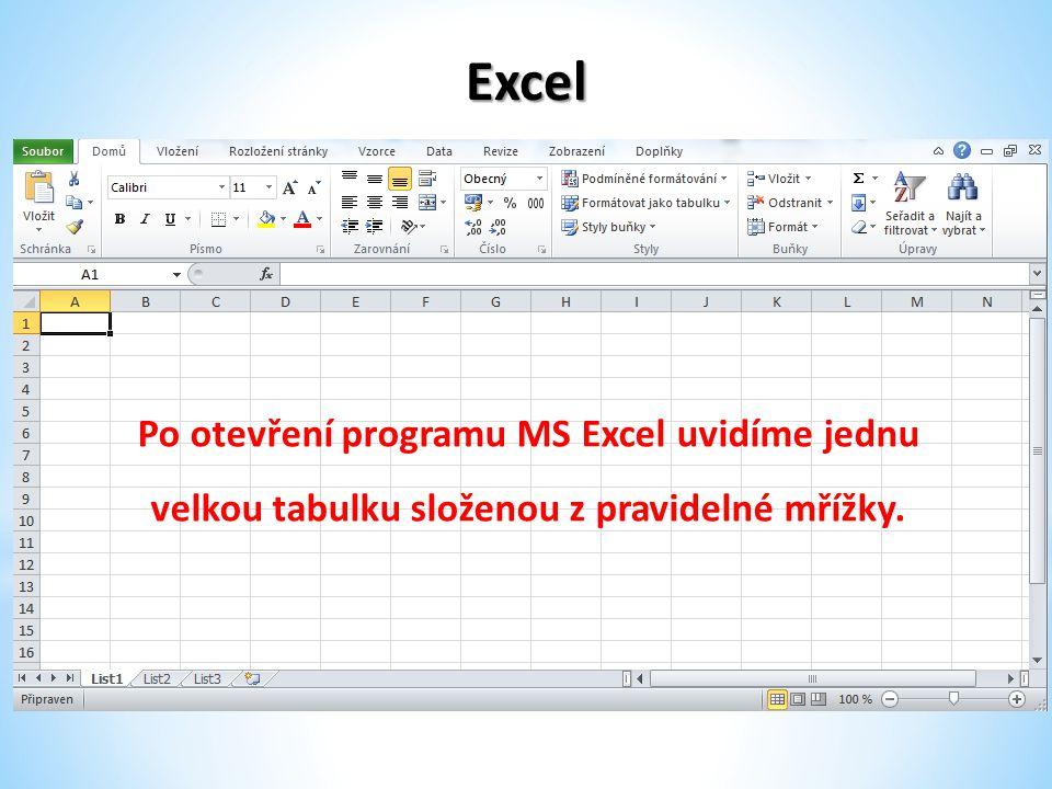 Excel Po otevření programu MS Excel uvidíme jednu velkou tabulku složenou z pravidelné mřížky.