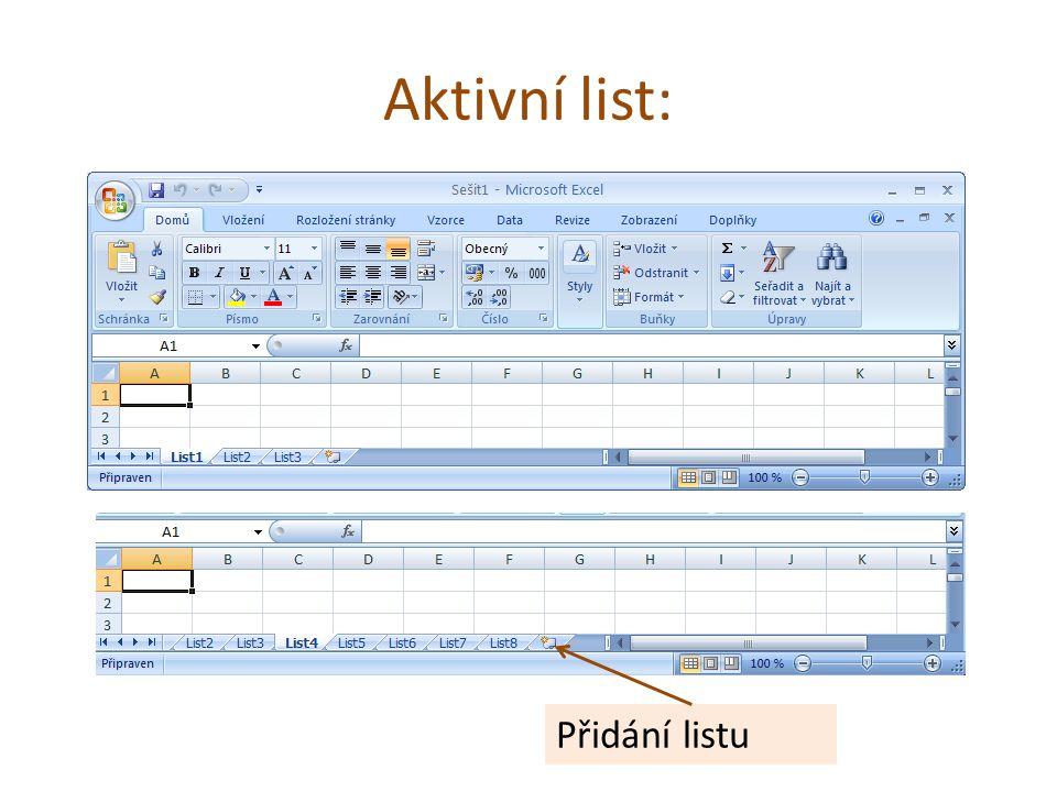 Aktivní list: Přidání listu